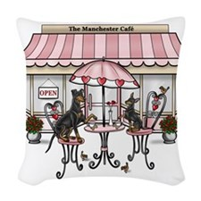 Manchester Terrier Cafe Woven Throw Pillow