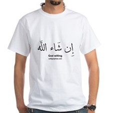 God Willing Insha'Allah Arabic White T-shirt