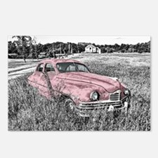 vintage pink car Postcards (Package of 8)