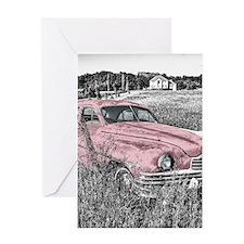 vintage pink car Greeting Cards