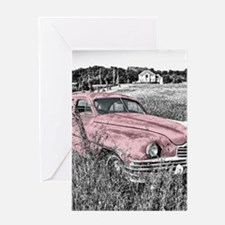vintage pink car Greeting Cards