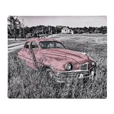 vintage pink car Throw Blanket