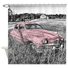 vintage pink car Shower Curtain