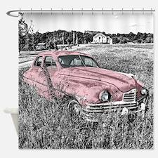 vintage pink car Shower Curtain
