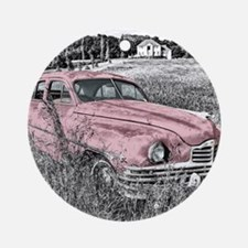 vintage pink car Ornament (Round)