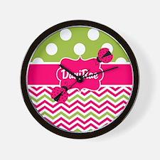 Pink Green Chevron Ladybug Personalized Wall Clock