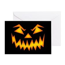 Scary Pumpkin Face Rp Greeting Cards