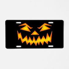 Scary Pumpkin Face D Aluminum License Plate