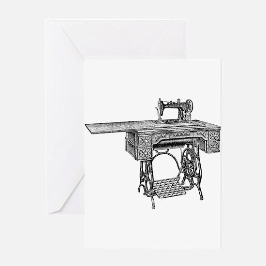 vintage sewing machine Greeting Cards