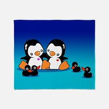 Penguins & Black Swans Throw Blanket