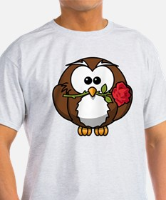 Cartoon Owl with Red Rose T-Shirt