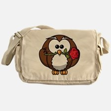 Cartoon Owl with Red Rose Messenger Bag