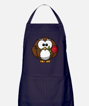 Cartoon Owl with Red Rose Apron (dark)
