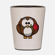 Cartoon Owl with Red Rose Shot Glass