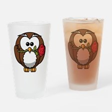Cartoon Owl with Red Rose Drinking Glass
