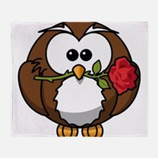 Cartoon Owl with Red Rose Throw Blanket