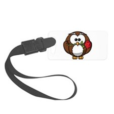 Cartoon Owl with Red Rose Luggage Tag