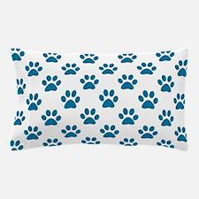 Blue puppy paw prints Pillow Case