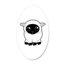 Cute Woolly Sheep Oval Car Magnet