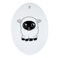 Cute Woolly Sheep Oval Ornament