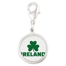 Ireland shamrock Silver Round Charm