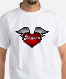 """Alyssa Heart with Wings"" White T-shirt"