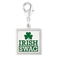 Irish swag Silver Square Charm