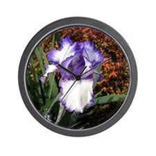 Purple and White Iris Wall Clock