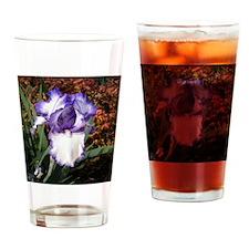 Purple and White Iris Drinking Glass
