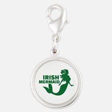 Irish mermaid Silver Round Charm