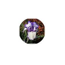 Purple and White Iris Mini Button (10 pack)