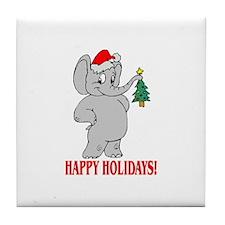 Christmas Elephant Tile Coaster