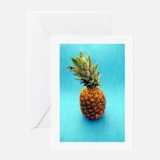 blue pineapple Greeting Cards