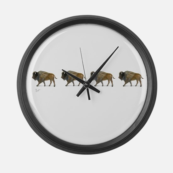 Buffalos on the way Large Wall Clock