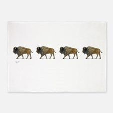 Buffalos on the way 5'x7'Area Rug
