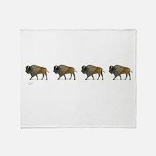 Buffalos on the way Throw Blanket