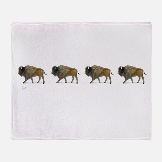 Buffalos on the way Throw Blanket