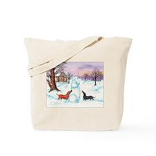 Snow Dachshunds Tote Bag
