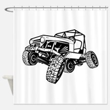 rock-crawling-jeep-outlined-only Shower Curtain