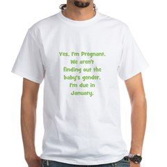 Pregnant - Suprise - January White T-shirt