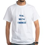 Yes, We're Twins! Blue & Blue White T-shirt