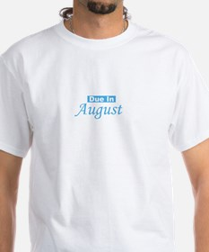 Due In August - blue White T-shirt