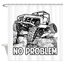 No Problem Rock Crawling Jeep Shower Curtain
