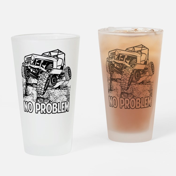 No Problem Rock Crawling Jeep Drinking Glass
