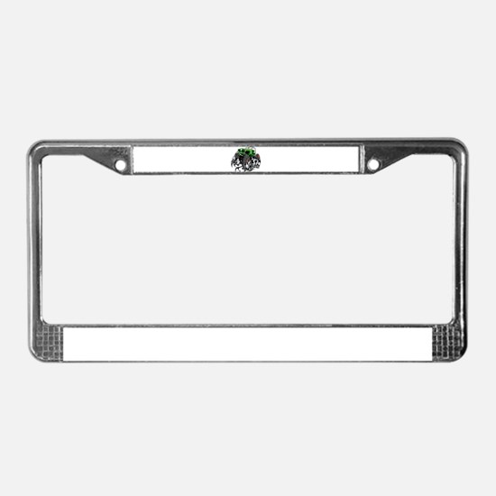 Skull Crawling Green Jeep License Plate Frame