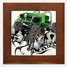 Skull Crawling Green Jeep Framed Tile