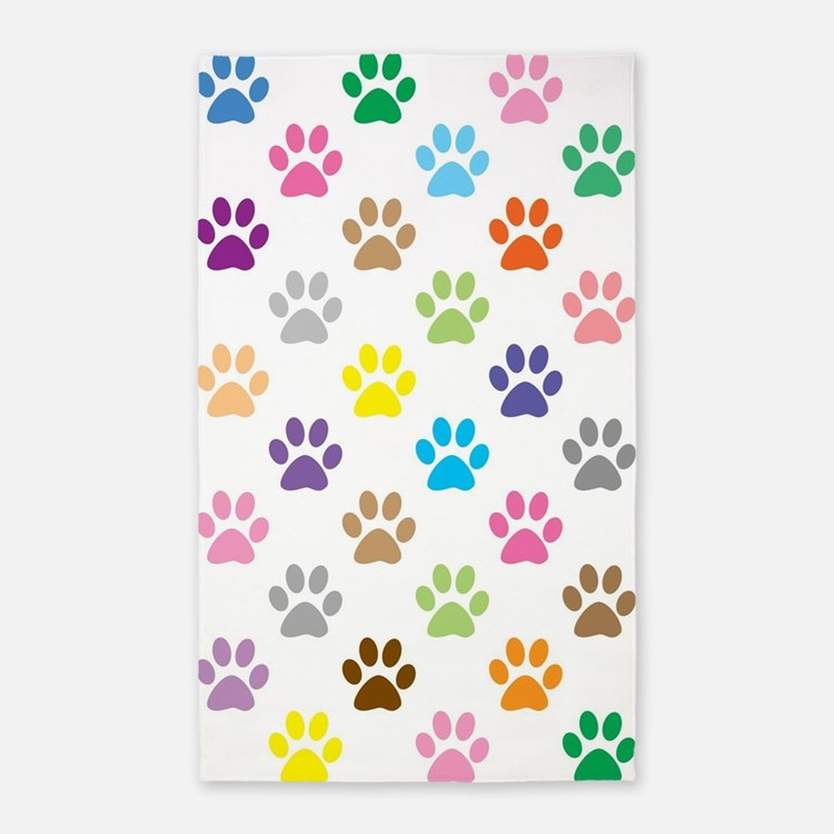 Colorful puppy paw print pattern Area Rug