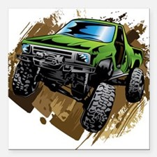 "truck-green-crawl-mud Square Car Magnet 3"" x 3"""