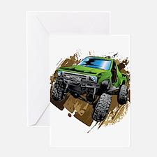 truck-green-crawl-mud Greeting Cards