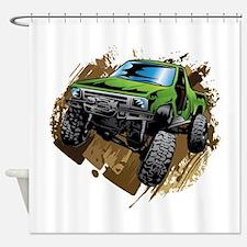 truck-green-crawl-mud Shower Curtain